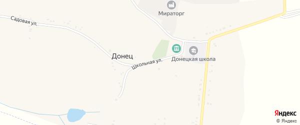 Школьная улица на карте села Донца с номерами домов
