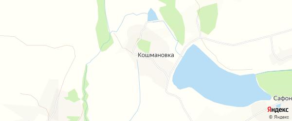 Карта хутора Кошмановки в Белгородской области с улицами и номерами домов
