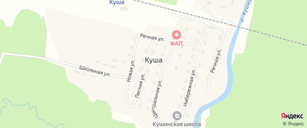 Железнодорожная улица на карте поселка Куши с номерами домов