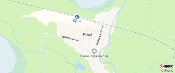 Карта поселка Куши в Архангельской области с улицами и номерами домов