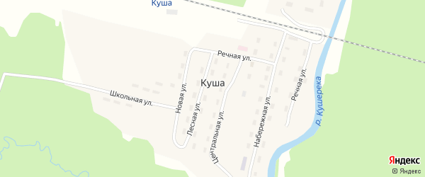 Центральная улица на карте поселка Куши с номерами домов