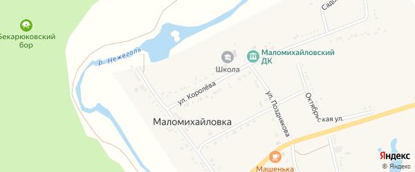 Улица Королева на карте села Маломихайловки с номерами домов