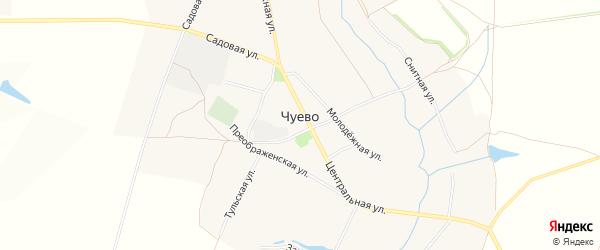 Карта села Чуево в Белгородской области с улицами и номерами домов