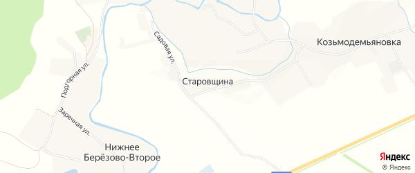 Карта села Старовщины в Белгородской области с улицами и номерами домов