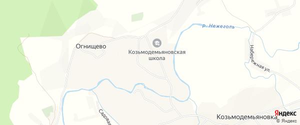 Карта села Огнищево в Белгородской области с улицами и номерами домов
