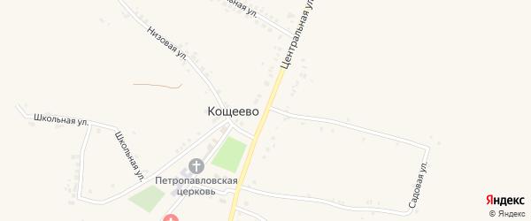 Центральная улица на карте села Кощеево с номерами домов
