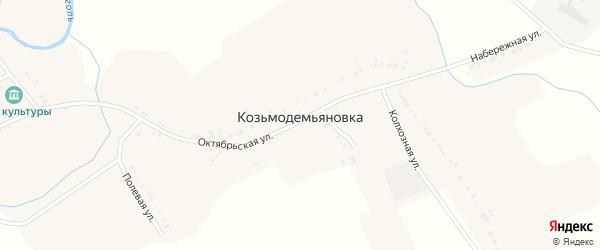 Народная улица на карте села Козьмодемьяновки с номерами домов