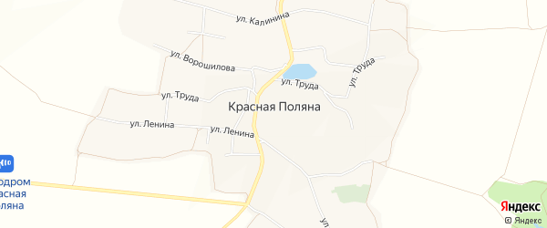 Карта села Красной Поляны в Белгородской области с улицами и номерами домов