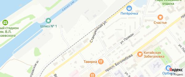 Станционная улица на карте Дубны с номерами домов