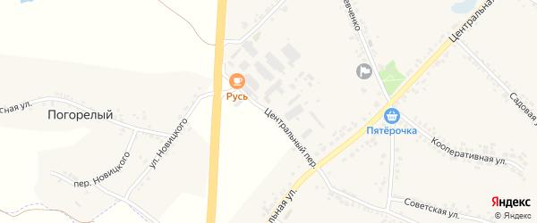 Центральный переулок на карте села Погореловки с номерами домов
