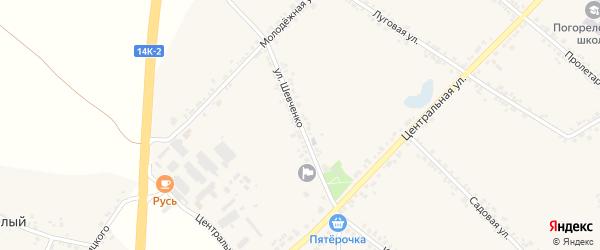 Улица Шевченко на карте села Погореловки с номерами домов