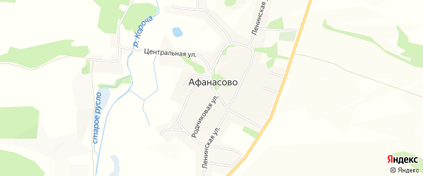 Карта села Афанасово в Белгородской области с улицами и номерами домов