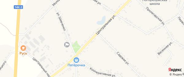 Центральная улица на карте села Погореловки с номерами домов