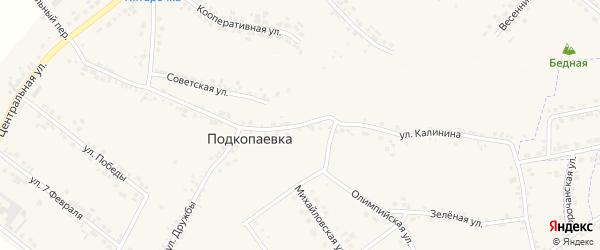 Улица Калинина на карте села Подкопаевки с номерами домов