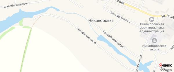 Левобережная улица на карте села Никаноровки с номерами домов