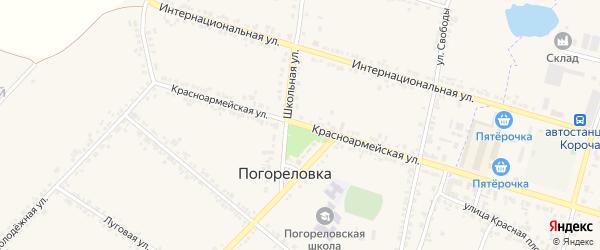 Красноармейская улица на карте села Погореловки с номерами домов