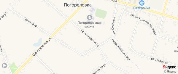 Пролетарская улица на карте села Погореловки с номерами домов