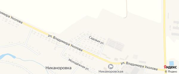 Садовая улица на карте села Никаноровки с номерами домов