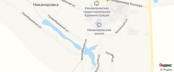 Молодежная улица на карте села Никаноровки с номерами домов