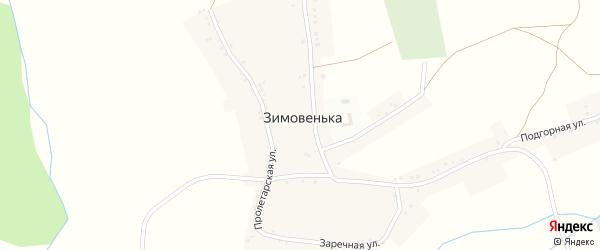Заречная улица на карте села Зимовеньки с номерами домов