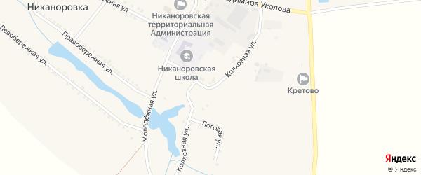 Колхозная улица на карте села Никаноровки с номерами домов