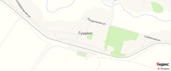Карта села Гущино в Белгородской области с улицами и номерами домов