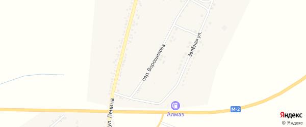Переулок Ворошилова на карте села Бехтеевки с номерами домов