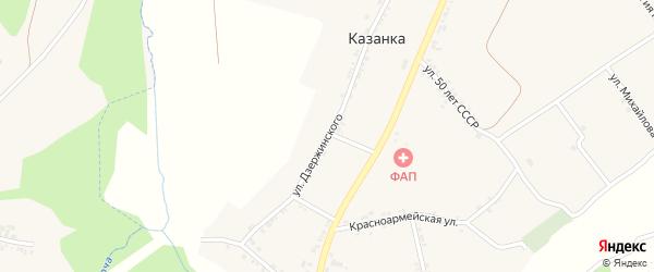 Улица Дзержинского на карте села Казанки с номерами домов