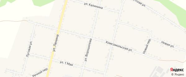 Комсомольская улица на карте села Бехтеевки с номерами домов