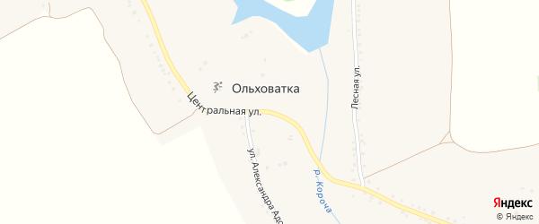 Центральная улица на карте села Ольховатки с номерами домов