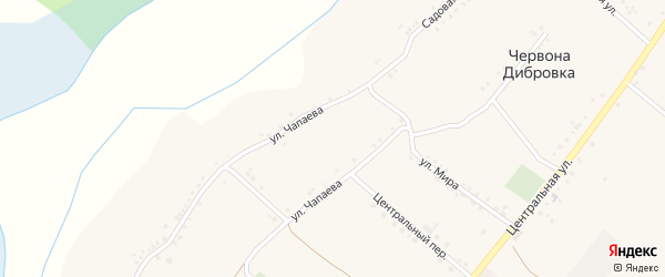 Зеленая улица на карте села Червоны Дибровки с номерами домов