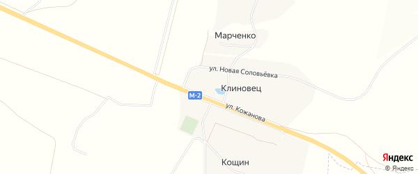 Карта села Клиновца в Белгородской области с улицами и номерами домов