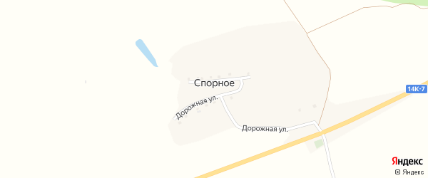 Дорожная улица на карте хутора Спорного с номерами домов
