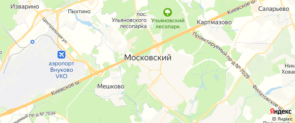 Карта Московского с районами, улицами и номерами домов