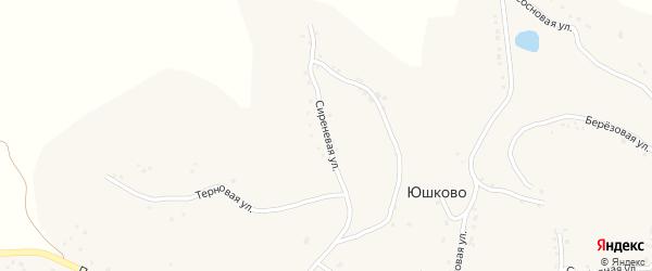 Сиреневая улица на карте села Юшково с номерами домов