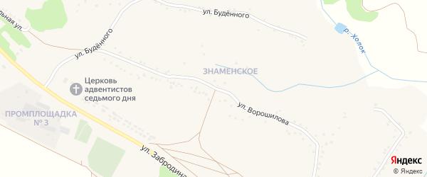 Улица Ворошилова на карте села Яблоново с номерами домов
