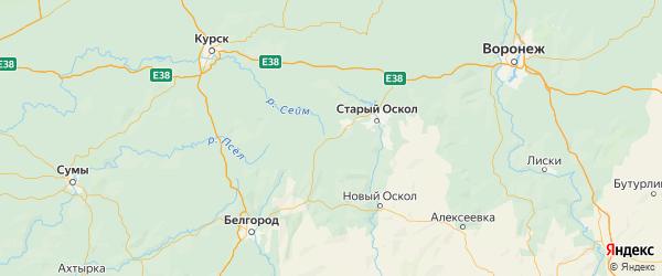 Карта Губкинского района Белгородской области с городами и населенными пунктами