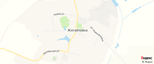 Карта села Жигайловки в Белгородской области с улицами и номерами домов