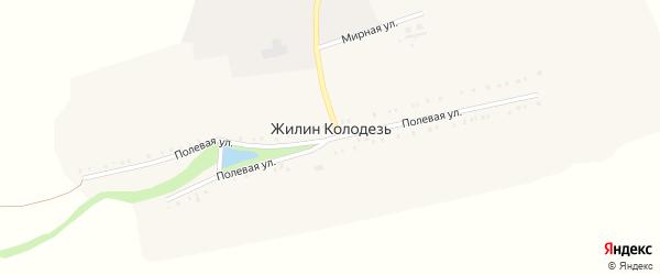 Мирная улица на карте хутора Жилина Колодезя с номерами домов