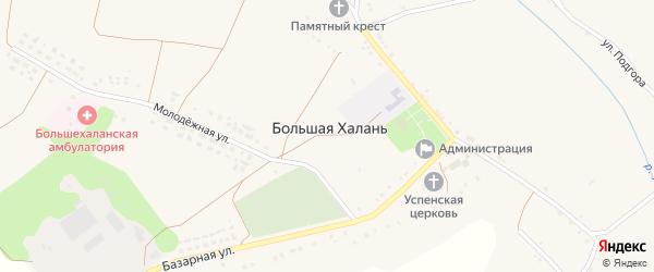 Базарная улица на карте села Большей Халань с номерами домов