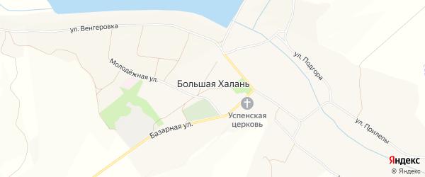 Карта села Большей Халань в Белгородской области с улицами и номерами домов