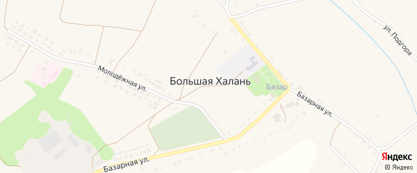 Улица Подгора на карте села Большей Халань с номерами домов