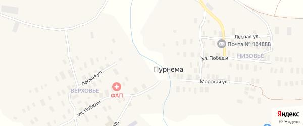 Улица Победы на карте села Пурнема с номерами домов