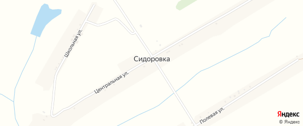 Полевая улица на карте села Сидоровки с номерами домов