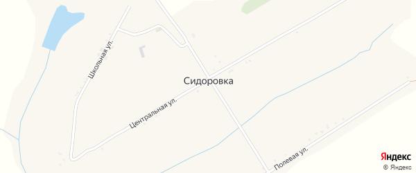Центральная улица на карте села Сидоровки с номерами домов