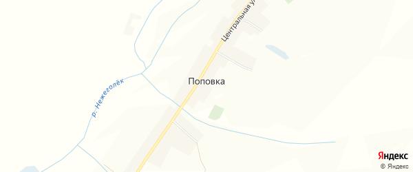 Карта села Поповки в Белгородской области с улицами и номерами домов