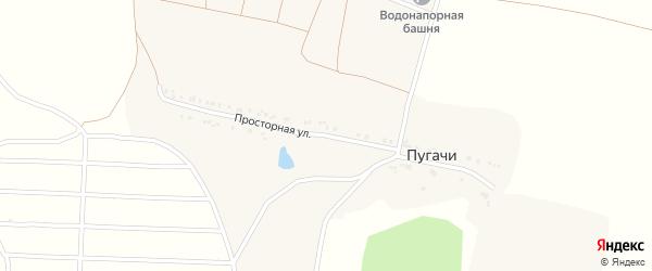 Просторная улица на карте хутора Пугачи с номерами домов