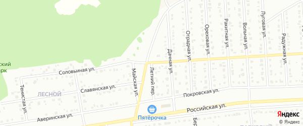 Летний переулок на карте Юбилейного микрорайона с номерами домов