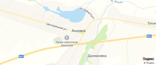 Карта села Анновки в Белгородской области с улицами и номерами домов