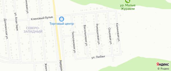 Васильковая улица на карте Губкина с номерами домов